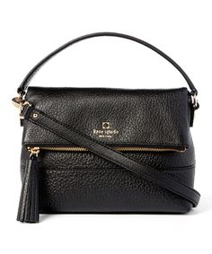 Another great find on #zulily! Kate Spade Black Mini Carmen Southport Avenue Leather Fold-Over Bag by Kate Spade #zulilyfinds