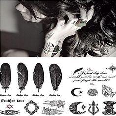 1 - 14.5*9.5cm(5.71*3.74in) - Γκρίζο/Μαύρο - Fashion Personality Sexy Feather Άλλα - Αυτοκόλλητα Τατουάζ - Non Toxic/Χαμηλά στην Πλάτη/Waterproof- – EUR € 0.99