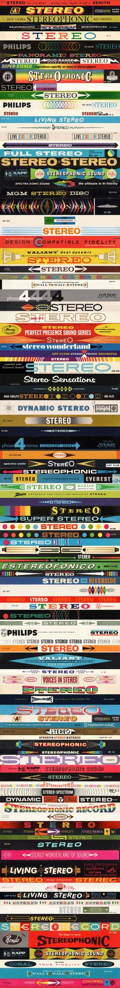 Vintage LP stereo banners stacked by Jive Time Records and Project Thirty-Three