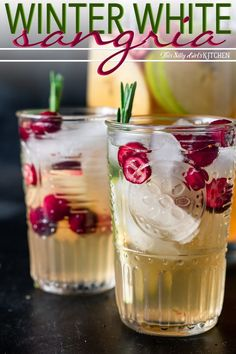 Winter white wine sangria is a refreshing mixed drink to serve during the holidays! This white wine sangria is light, refreshing and effervescent, with flavors of vanilla, apples, and cranberries. PIN IT NOW TO SAVE Winter Sangria, Cranberry Sangria, Holiday Sangria, White Wine Sangria, Winter Drinks, Christmas Cocktails, Wine Cocktails, Holiday Drinks, Cocktail Drinks
