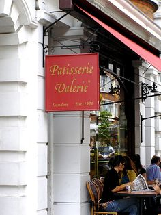 Patisserie Valerie   London.  A quaint little patisserie full of people and life and divine cakes