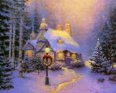 Thomas Kinkade was an American painter of popular realistic, bucolic, and idyllic subjects. He is notable for the mass marketing of his work as printed reproductions and other licensed products via The Thomas Kinkade Company. Christmas Scenes, Christmas Pictures, Christmas Art, Winter Christmas, Christmas Fireplace, Christmas Baubles, Country Christmas, Vintage Christmas, Thomas Kinkade Art