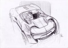 brilliant high 3/4 concept car sketch