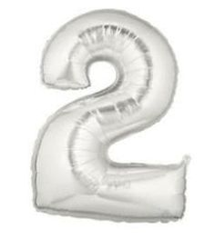 40'' Megaloon Silver Number 2 Foil Balloon