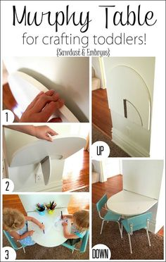 Simple instructions for building a small 'Murphy' table that folds down from the wall for crafting toddlers, and folds back up out of the way when no one is using it! {Sawdust and Embryos} #toddlerplayhouse