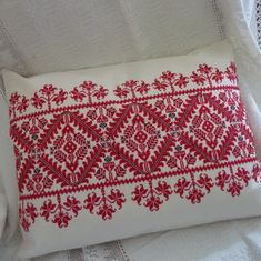 Hand Embroidered Cross Stitch Cushion (55 x 40cm) from Parna. Beautifully hand-embroidered in counted cross stitch, this cushion features a traditional folk design.