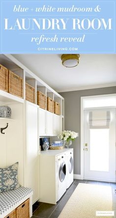 Mudroom + laundry room with a coastal look - woven baskets and builtin cupboards for much needed storage, blue and white decor accents and fabric prints are fresh and crisp! #laundryroom #mudroom #laundry #laundryroomideas #mudroomideas #organization