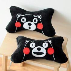 2Pcs Kumamon Black Fuzzy Plush Bone Pillow Cute Fashion Neck Pillows Anime Gift