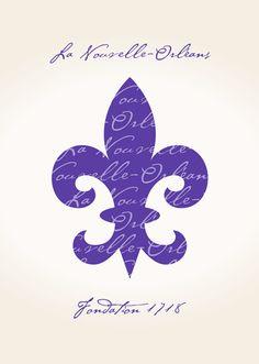 La Nouvelle-Orleans Fleur De Lis Art Print   Purple   $12.50