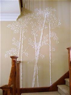 raised-wall-art-trees using stencils and caulking