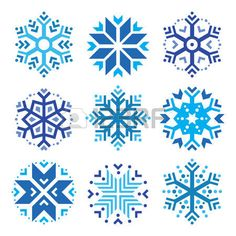 Snowflakes, winter blue icons set photo