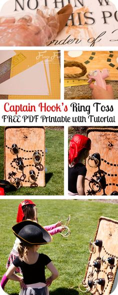 Free Jumbo printable and step by step instructions on how to make this game.  Love! Pirate Party Ring Toss Game Tutorial