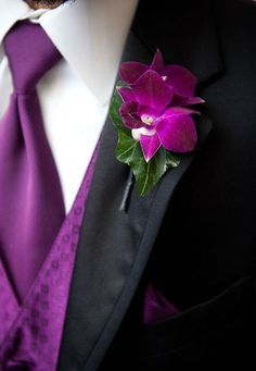 The Most Popular Wedding Color Trends For 2019 ★ wedding color trends bridal black groom suit with lilac vest and orchid boutonniere adam nyholt photographer Wedding Ties, Wedding Groom, Wedding Bouquets, Wedding Flowers, Wedding Attire, Wedding Dresses, Purple Wedding, Dream Wedding, Wedding Day