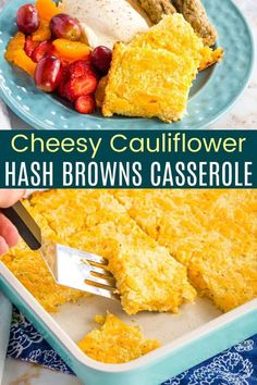 Cheesy Cauliflower Hash Browns Casserole - an easy side dish recipe that's packed with veggies and plenty of cheddar cheese from my partner @cabotcheese. With a golden brown top and crispy edges, everyone will be ready to dig in for breakfast, brunch, or dinner. Naturally gluten free, and can be made keto as well. Veggie Side Dishes, Side Dish Recipes, Veggie Recipes, Fun Recipes, Cheese Recipes, Brunch Casserole, Hash Brown Casserole, Casserole Recipes, Cheesy Cauliflower