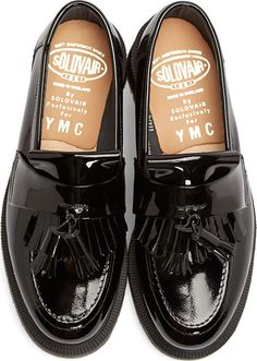 YMC Black Patent Leather Penny Loafers