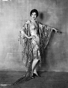 Teenaged American Actress Loretta Young Wearing A 1920s Metallic Lace Evening Dress, 1928