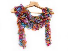 Bohemian tropical scarf - hand knitted, colorful, multicolored, frilly, ruffle, long knitting accessories,. $30.00, via Etsy.