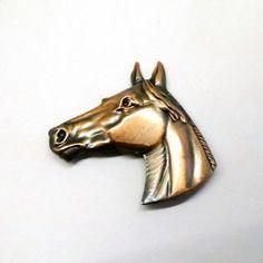 Horse Brooch - Vintage, Copper Tone Metal, Horse Head Pin by MyDellaWear on Etsy