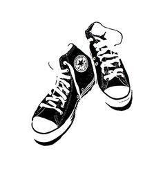 Black Converse linocut by Graham Spice