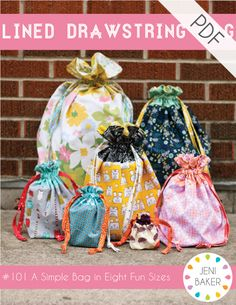 "Easy lined drawstring bag sewing pattern, featuring eight sizes and make-your-own size instructions!There is a bag for everything in this pattern! Sizes range from tiny (4"" tall!), to big (26"" tall!), or create your own size to fit your needs!8-page PDF pattern includes:- 8 bag sizes with yardage requirements and cutting instructions- Detailed how-to for creating your own bag size- Bag construction tutorialFabric Requirements can be see..."