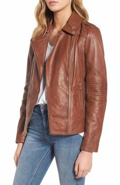 New Leather Jacket Women s Biker Outerwear Coat Vintage Motorcycle Slim Fit Tan Womens Coats Jackets from top store Cute Leather Jackets, Leather Jacket Outfits, Leather Dresses, Moto Jacket, Stylish Outfits, Just For You, Clothes For Women, Nordstrom Rack, Image