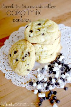 Chocolate Chip Marshmallow Cake Mix Cookies- easiest recipe ever!