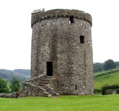 Orchardton Tower is the only round tower-house in Scotland. It was built in the mid 15th century for John Carnys (or Cairns). A door at ground level leads to a cellar with a vaulted roof. Access to the rest of the tower is via an external stair to the first floor. None of the upper floors remain, but there is a spiral staircase within the thickness of the wall that leads up to the parapet and is covered by a small gabled cap-house. Southwest near English border.