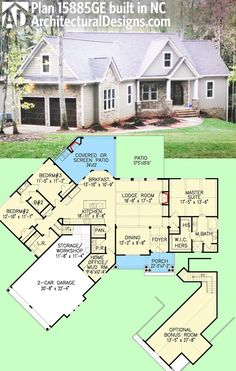 Architectural Designs Craftsman House Plan 15885GE client-built in North Carolina. 2,000+ sq. ft. plus bonus over the garage. Ready when you are. Where do YOU want to build?