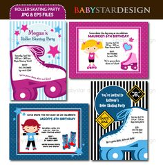 These adorable invitation templates are perfect for roller skating party invitations, thank you cards, scrapbooking and many more!  Great for offering at Zazzle type of websites.