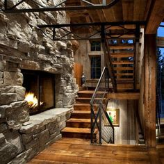 Staircase Fireplace - Rustic -