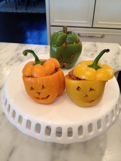 Halloween pumpkin stuffed bell peppers. Fun, healthy dinner for kids.