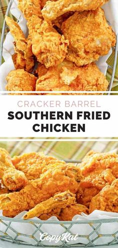 The best Southern fried chicken that's crispy on the outside and moist on the inside. Find out how to make Cracker Barrel Fried Chicken with this easy copycat recipe. Buttermilk and seasoned flour give this fried chicken a special flavor. #friedchicken #chickendinner #southernfood #dinnerideas #dinnertime #copycat #copycatrecipe Best Fried Chicken Recipe, Easy Chicken Wing Recipes, Buttermilk Fried Chicken, Fried Chicken Southern, Cracker Barrel Pancakes, Cracker Barrel Chicken, Cracker Barrel Recipes, Copykat Recipes, Meat Recipes