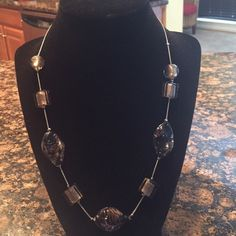 Necklace-black glass Black glass colored necklace Jewelry Necklaces