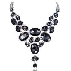 EVER FAITH® Silver-Tone Art Deco Black Rhinestone Bib Statement Necklace >>> Visit the image link more details. (This is an affiliate link and I receive a commission for the sales)