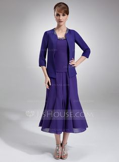 Mother of the Bride Dresses - $134.99 - A-Line/Princess Scoop Neck Tea-Length Chiffon Charmeuse Mother of the Bride Dress With Ruffle Beading Sequins (008005996) http://jjshouse.com/A-Line-Princess-Scoop-Neck-Tea-Length-Chiffon-Charmeuse-Mother-Of-The-Bride-Dress-With-Ruffle-Beading-Sequins-008005996-g5996
