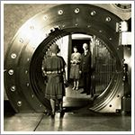 Denver National Bank vault, Denver, Colorado, black and white print, 1928 Wells Fargo Corporate Archives