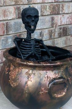 Easy Rusty Crusty Halloween Cauldron - Transform an inexpensive plastic cauldron for Halloween!