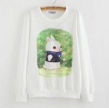 2016 nova marca com capuz mulheres casuais hoodies coelho querida impressão de lã dentro manga comprida o pescoço letras camisola para as mulheres C1Q(China (Mainland))