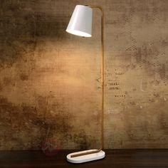 Lampa stojąca CONA z białym metalowym kloszem 6054952