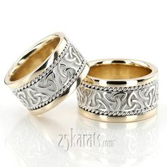 25karats His Hers Celtic Wedding Bands