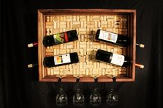 wine cork projects | Wine Cork Wine Rack. Black Walnut with Pecan - by mountainheart ...