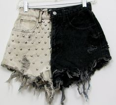 Designer Clothes, Shoes & Bags for Women Distressed High Waisted Shorts, Vintage High Waisted Shorts, Denim Cutoff Shorts, Jean Shorts, Studded Shorts, Waisted Denim, Look Fashion, Diy Fashion, Ideias Fashion