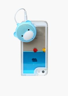 Cute Bear iPhone Speaker in Blue