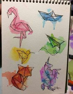 Captivating Drawing On Creativity Ideas Drawing Doodles Sketches Animals plane and watercolor boat ✈️⛵ This image has get. Origami Tattoo, Art And Illustration, Doodle Art, Bird Doodle, Easy Drawings, Pencil Drawings, Art Inspo, Painting & Drawing, Painting Videos