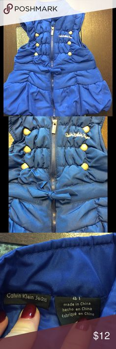 ❤️HOST PICK!! ❤️ Calvin Klein Jeans Puffer Vest This is in perfect shape and is absolutely gorgeous. Nice warm puffer vest with embroidered logo and cute bow on the front. Calvin Klein Jeans Jackets & Coats Puffers