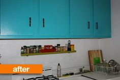 Love the spice shelf & the idea of painting the upper cabinets only.....Before&After: Bold Color in the Kitchen