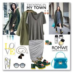 """Romwe Grey T-shirt"" by ludmyla-stoyan ❤ liked on Polyvore featuring Bobbi Brown Cosmetics, H&M, Furla, Marni, NARS Cosmetics, Mawi, Luigi Bormioli, Tom Ford, GREEN and trending"