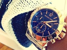<3<3<3 this blue Michael Kors! Want more of luxury watches follow my board @AyeeitsJaylah or my page