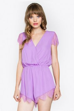 -+Lilac+Sleeveless+Romper -+Wrap+Front -+Lace+Trim+on+the+Sleeves+and+Hem -+Stretch+Band+at+Waist -+Fits+True+To+Size+   Check+our+Sizing+Charts+for+sizing+info+