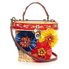 Dolce & Gabbana Majolica-print leather and wicker basket bag (34170 MAD) ❤ liked on Polyvore featuring bags, handbags, flower handbags, woven leather purse, genuine leather handbags, real leather purses and leather flower purse
